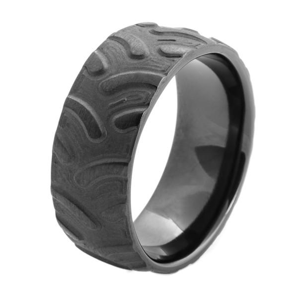 Men S Black Tractor Ring Titanium Buzz