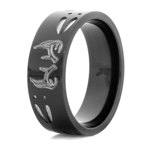 Men S Black Two Tone Buck Ring Titanium Buzz