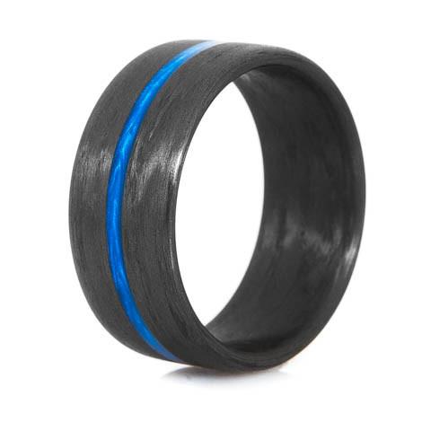 thin blue line carbon fiber ringwide unique titanium