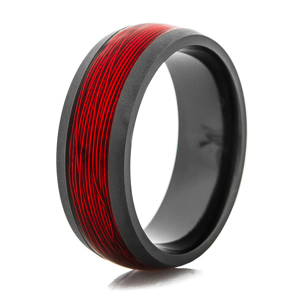 Black Ring With Red Fishing Wire Inlay Titanium Buzz