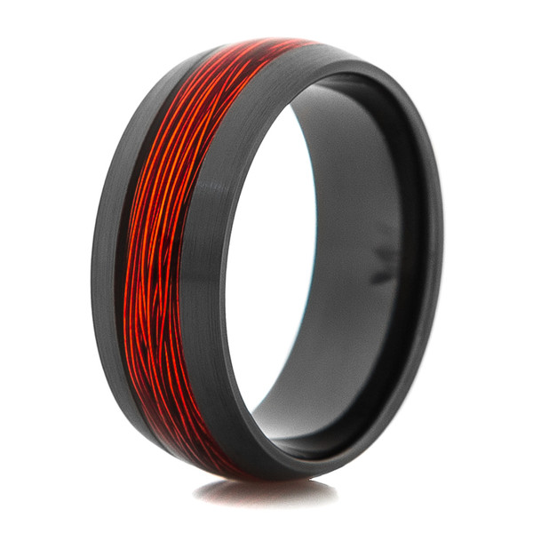 Black Ring With Orange Fishing Wire Inlay Titanium Buzz