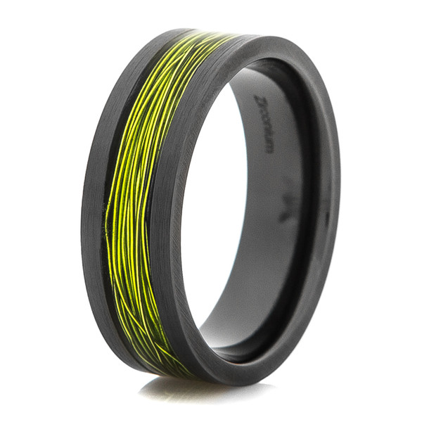 Men S Black Ring With Electric Green Fishing Wire Inlay
