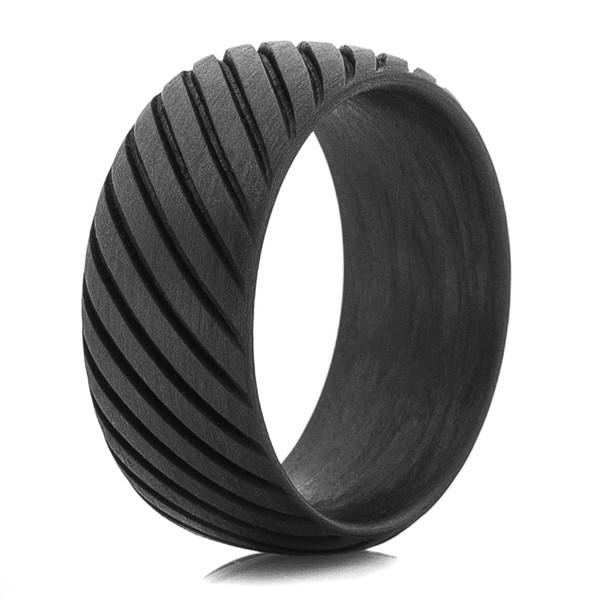 Men S Rope Style Carbon Fiber Ring Titanium Buzz