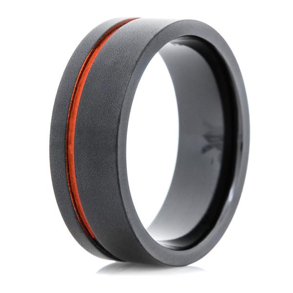 Men S Black Ring With Offset Orange Inlay Titanium Buzz