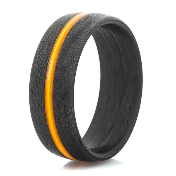 Men S Carbon Fiber Ring With Thin Orange Line Titanium Buzz