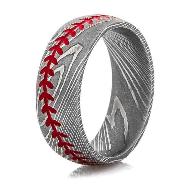 Men S Damascus Steel Baseball Stitch Ring Titanium Buzz