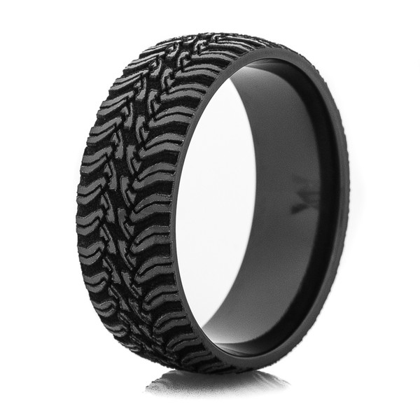 mud tire wedding ring men s laser carved black tread ring titanium buzz 6066