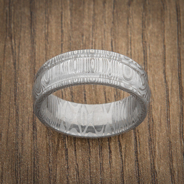 Men S Domed And Grooved Edge Damascus Ring Titanium Buzz