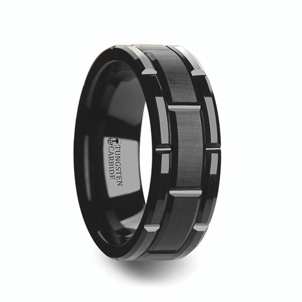Men S Beveled Black Tungsten Carbide Wedding Band With