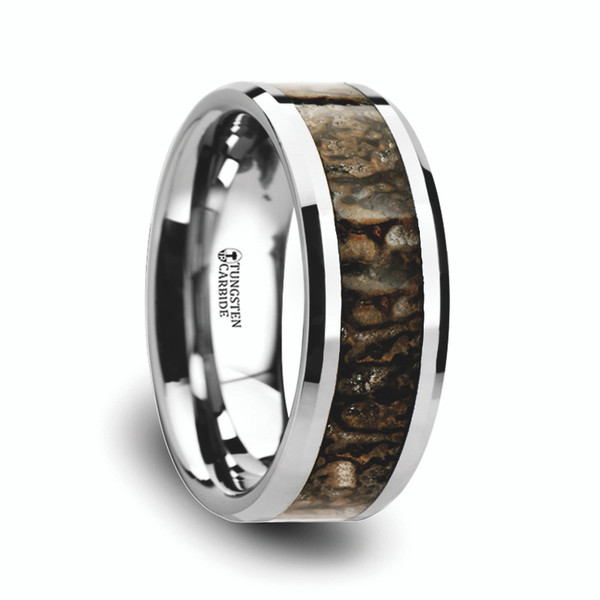 dinosaur bone wedding ring dinosaur bone inlaid tungsten carbide ring with beveled 3550