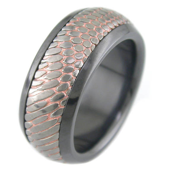 Men S Black Zirconium Sleeve Carved Superconductor Ring