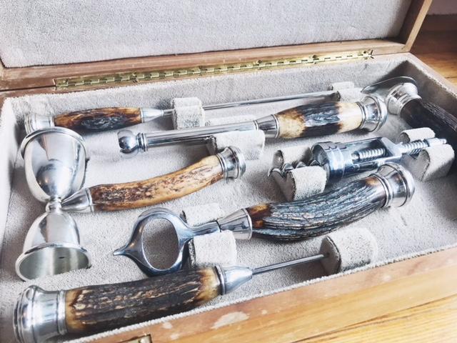 Antler And Sterling Barware - 6 Piece Set