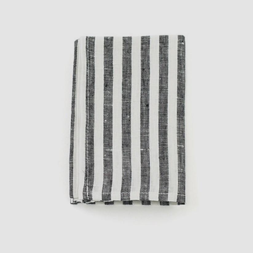 Linen Kitchen Cloth - Black White Stripe