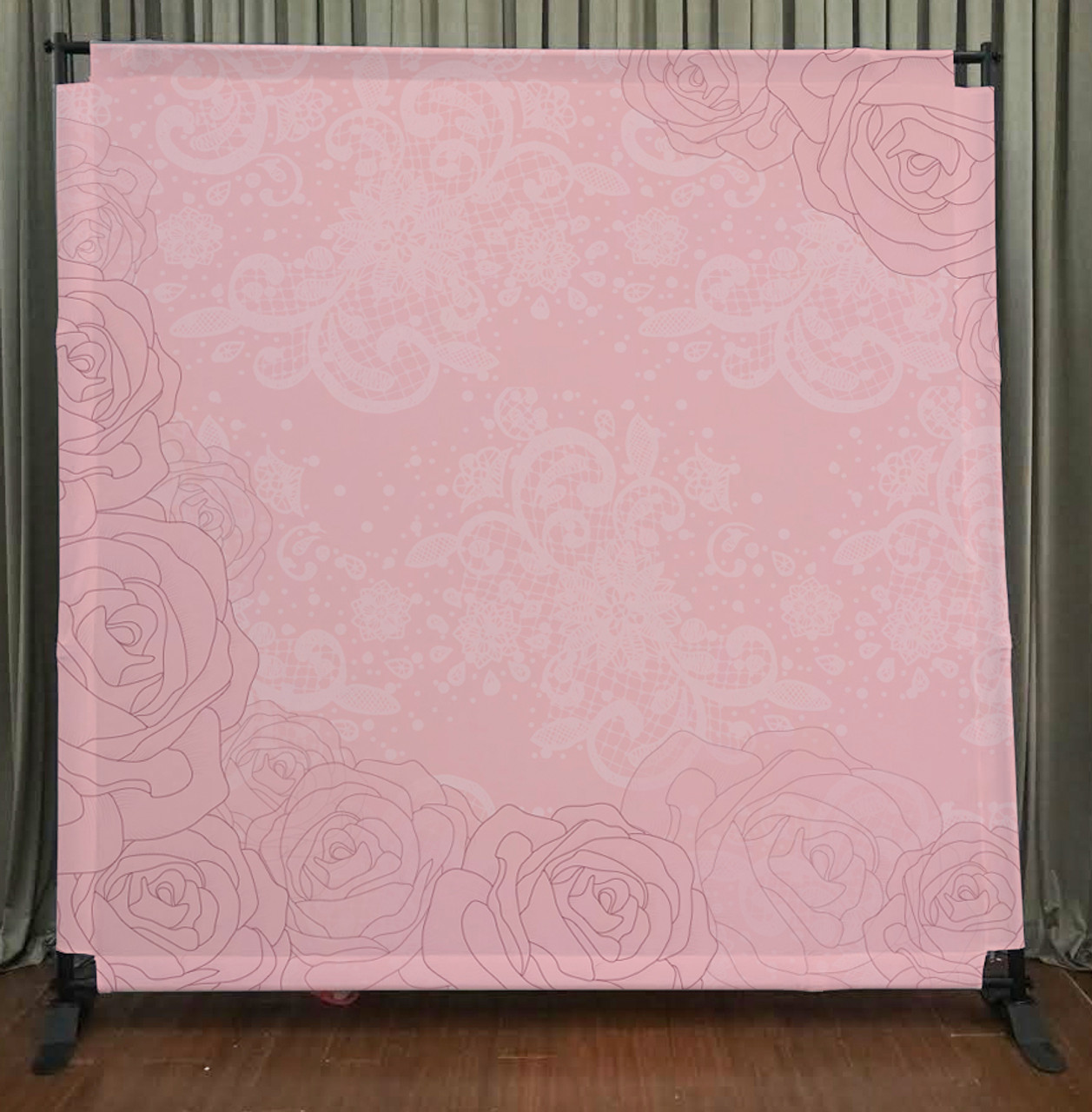 8x8 Printed Tension Fabric Backdrop Pink Lace Flowers Pb Backdrops