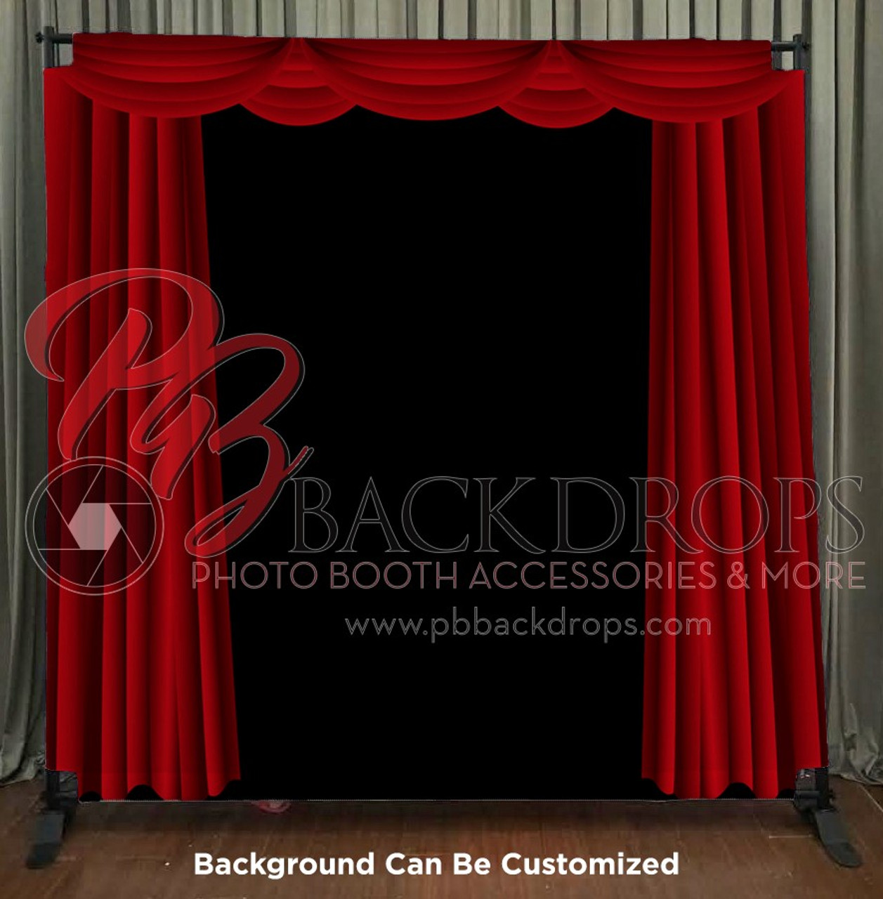 8x8 Printed Tension Fabric Backdrop Red Curtains