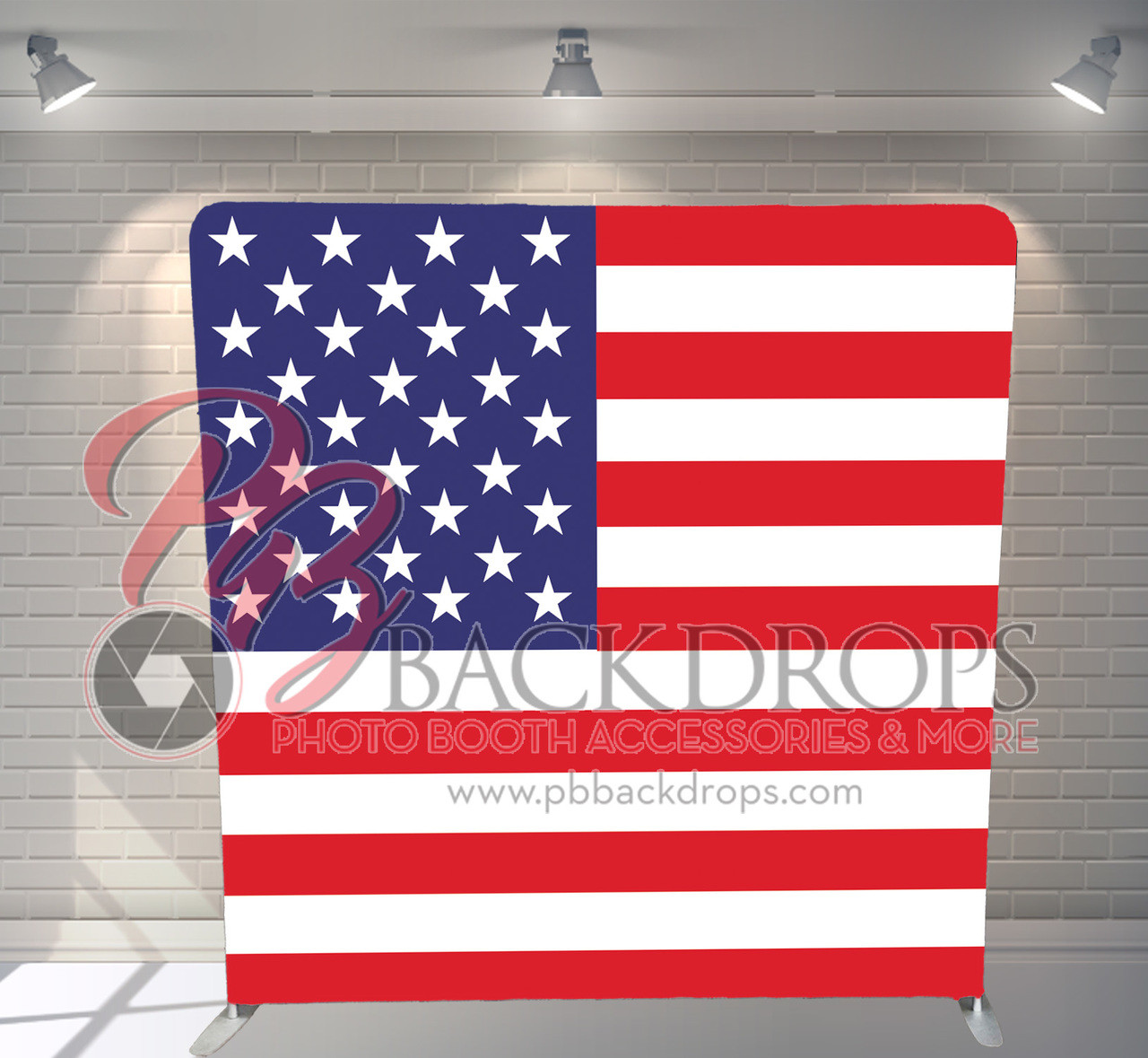 Single Sided Pillow Cover Backdrop American Flag