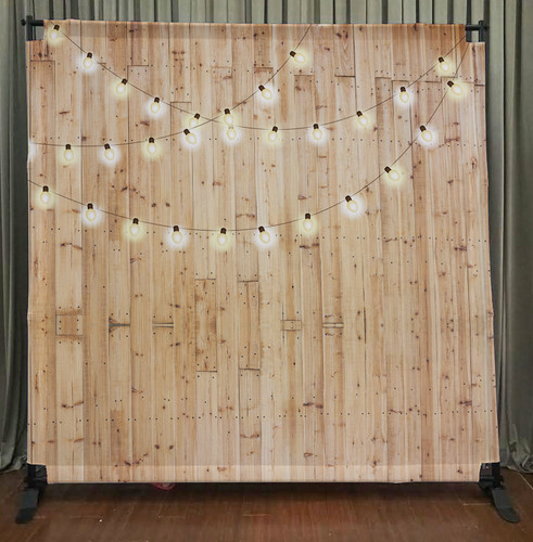 8x8 Printed Tension Fabric Backdrop Light Wood W String