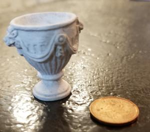 Fancy Flower Urn - White