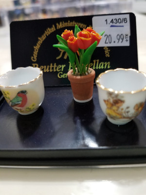 Reutter Porzellan -Potted Flowers, Bird & Fairy Vases