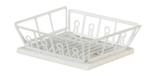 White Metal Dish Rack with Mat