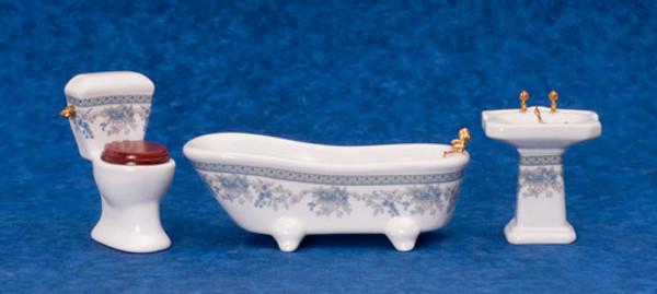 Bathroom Set - Blue Flowers