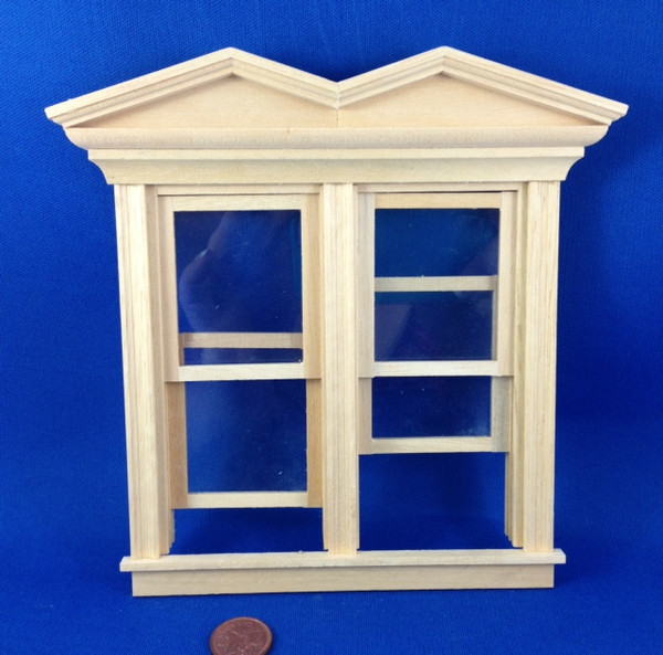 Working Victorian Hooded Double Window