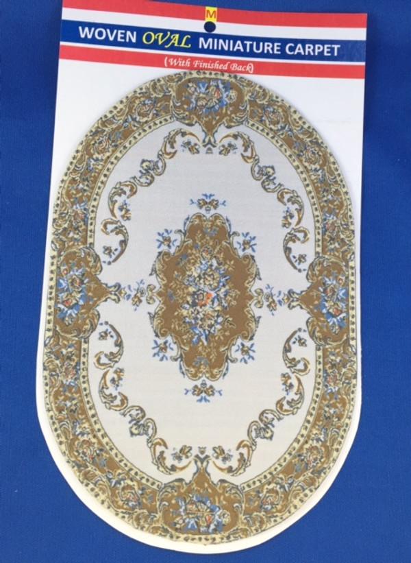 Woven Oval Miniature Carpet - Cream Background