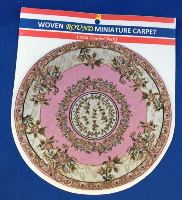 Woven Round Miniature Carpet - Cream & Pink Background