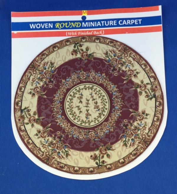 Woven Round Miniature Carpet - Beige & Burgandy Background