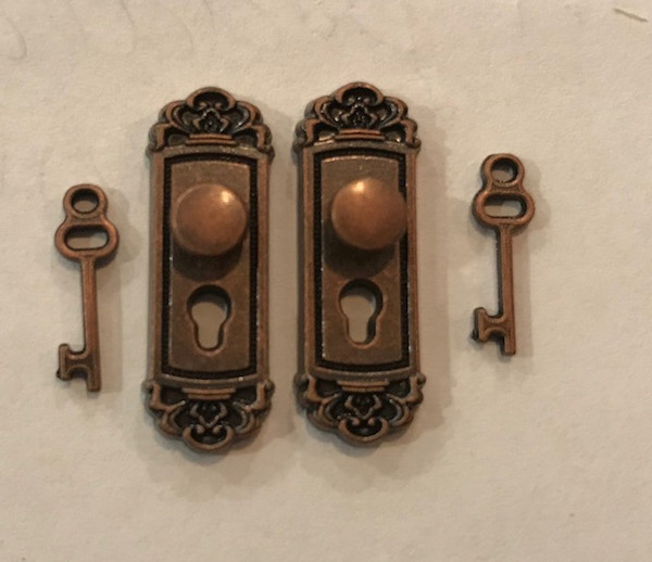 Antiqued Copper Door Knobs with Keys