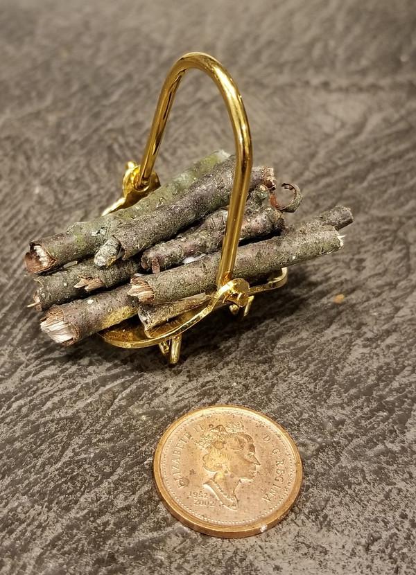 Brass log Holder with Logs