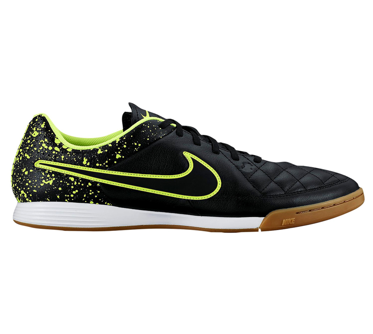 NIKE TIEMPO GENIO LEATHER IC BLACK/VOLT indoor soccer shoes