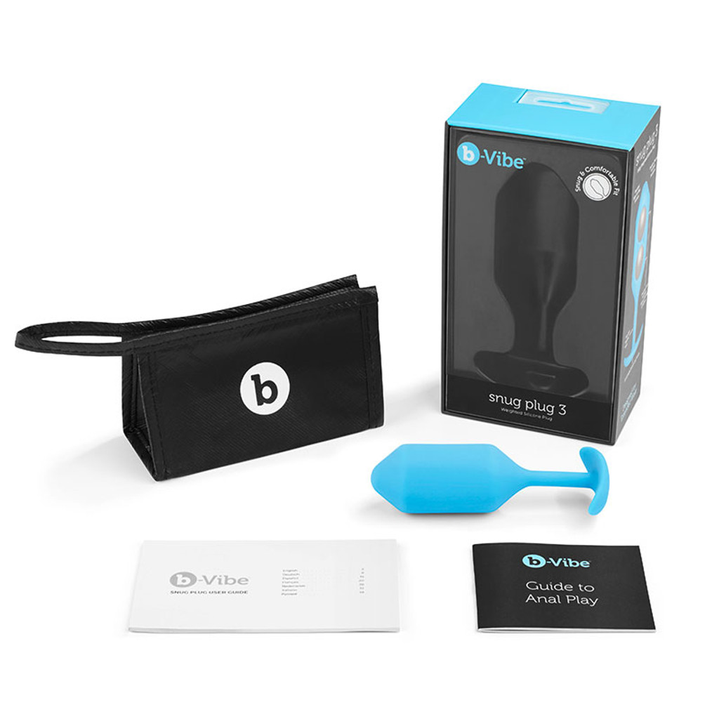 Teal b-Vibe Snug Plug 3 Weighted Silicone Plug - Package
