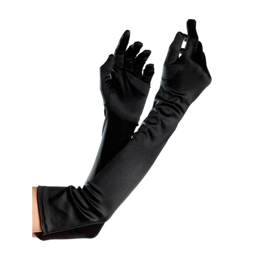 Opera Length Spandex Gloves - Black