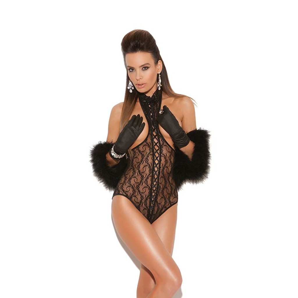 Lace Cupless Open Back Teddy - Front