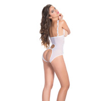 White Lace Open Cup Crotchless Teddy  - Back