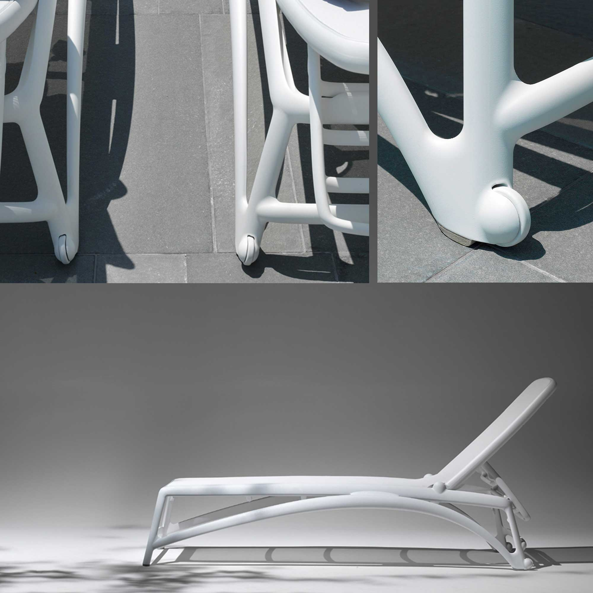 Sunloungr chaise has integrated wheels no parts to rust