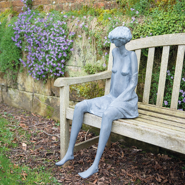 Maria Lead Garden Sculpture on Bench