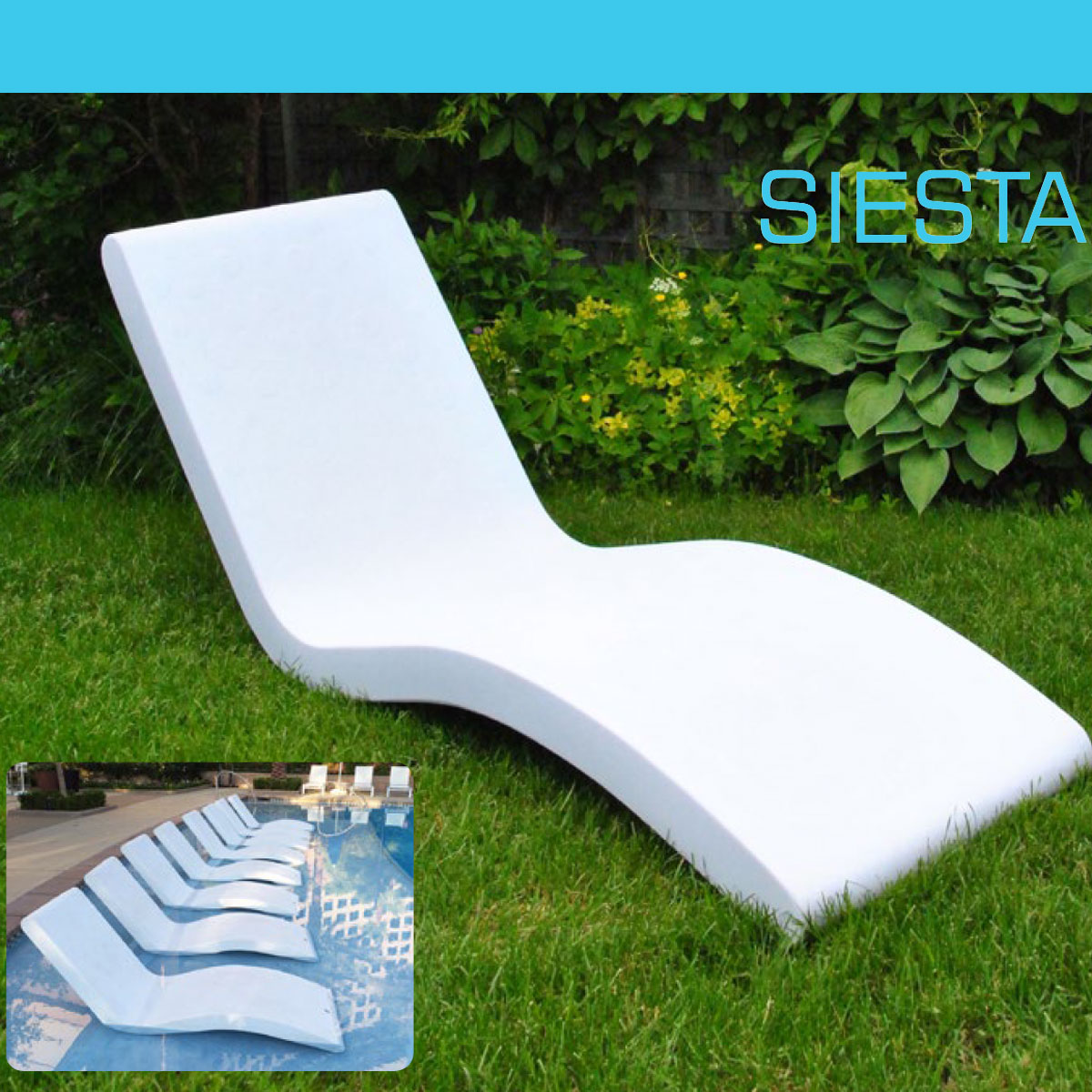 Siesta Tanning Ledge Chaise make a beautiful addition to your in pool sunshelf