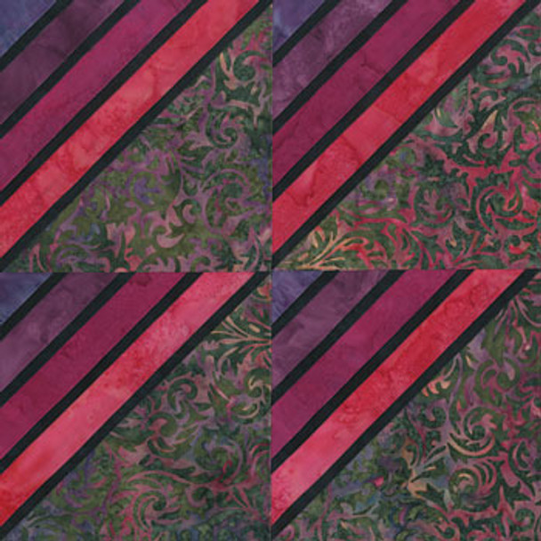 Stained Glass Amish Stripes Paper Pieced Quilt Block Pattern