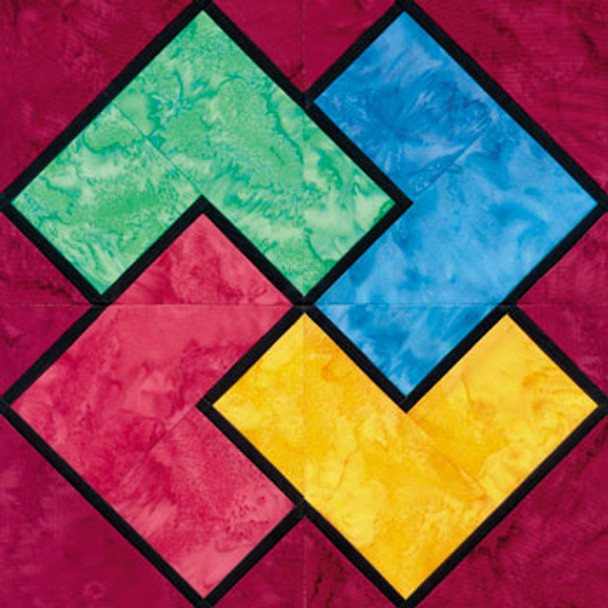 Stained Glass Card Trick Paper Pieced Quilt Block Pattern