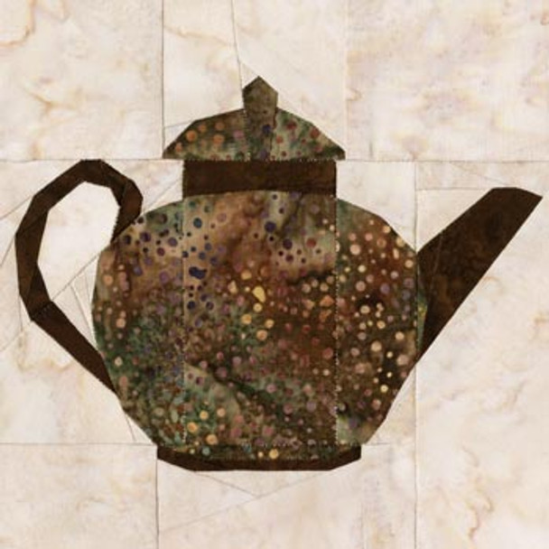 Brown Betty Teapot Paper Pieced Quilt Block Pattern