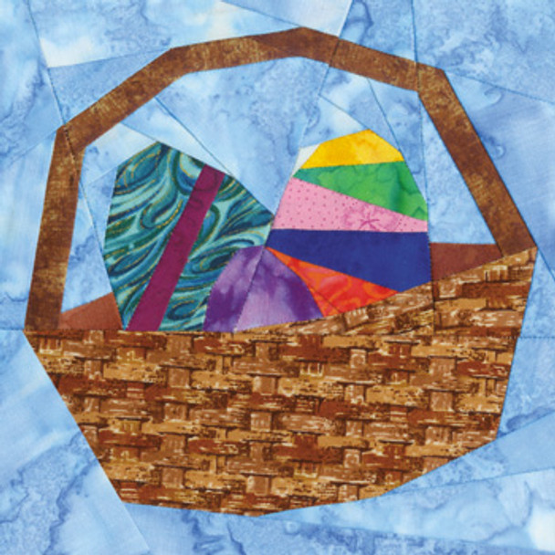 April Easter Basket Paper Pieced Quilt Block Pattern