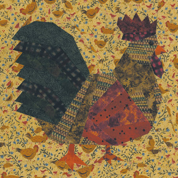Folk Art Chicken Paper Pieced Quilt Block Pattern