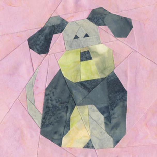 Playful Puppy Paper Pieced Quilt Block Pattern