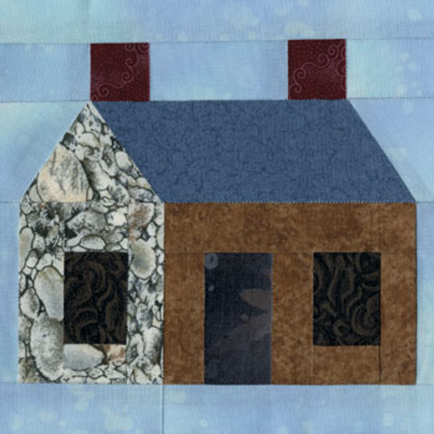 Village Cottage Paper Pieced Quilt Block Pattern
