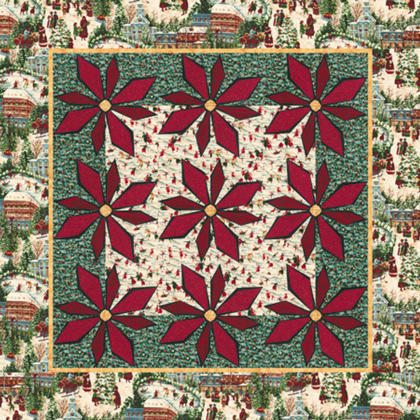 Fresh Cut Poinsettia Paper Pieced Quilt Pattern