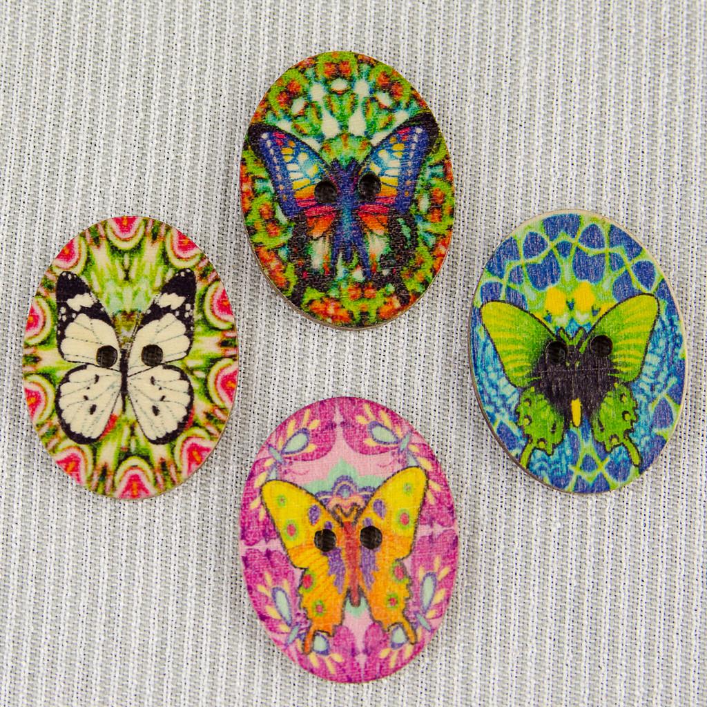 Butterfly, Purple  Wooden Button