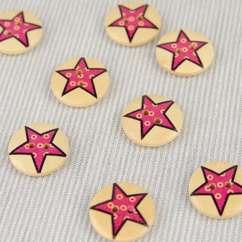 Patchwork Star, Pink:  Wooden Button