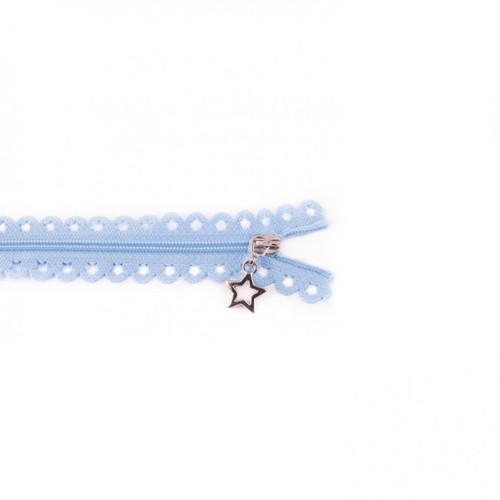 Star Cut Zipper: Light Blue (25 cm)